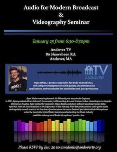 Audio Seminar offered at Andover TV