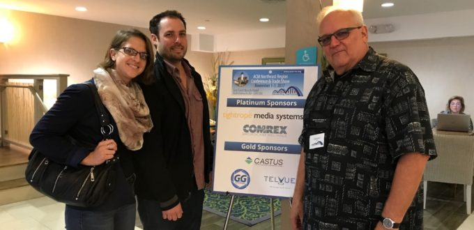 (From Left to Right) Dena Schumacher (Studio Production Manager, LMCTV), Matt Sullivan (COO, LMCTV), Michael Witsch (Vice President, LMCTV Board of Directors) at the 2017 ACM Northeast Regional Conference & Trade Show.